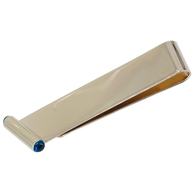 Gold and Sapphire Cartier Money Clip For Sale