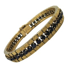 Gold and Sapphire Flexible Link Bracelet
