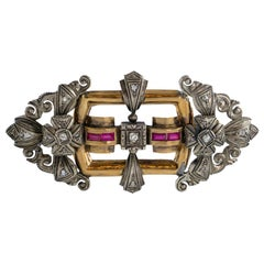 Gold and Silver Brooch with Diamonds and Rubies
