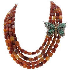 Gold and Silver Carnelian Diamonds Emeralds Garnets and Topazes Necklace