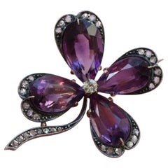 Gold and Silver Clover Four Brooch with Amethyst and Diamond