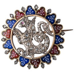 Gold and Silver Dragon Brooch