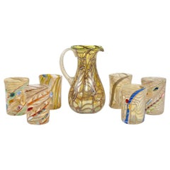 Gold and Silver Murano Glass Pitcher with Six Glasses