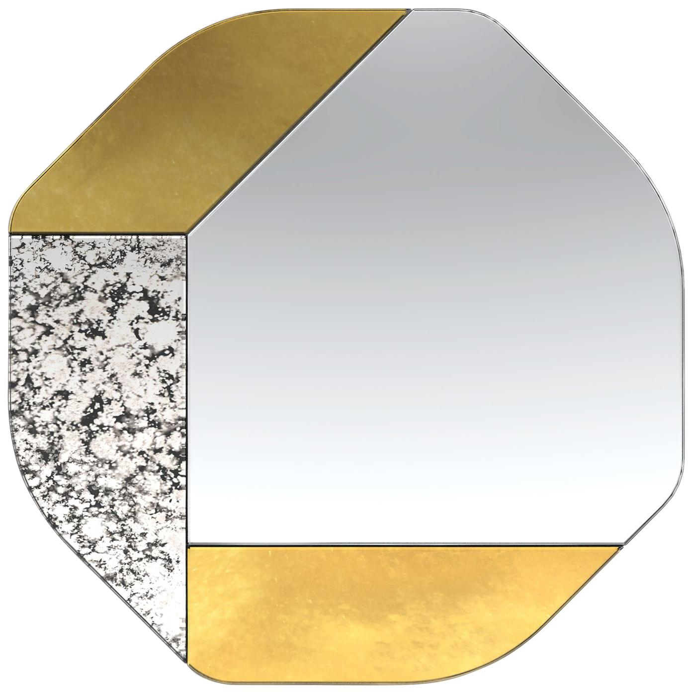 Gold and Speckled WG.C1.B Hand-Crafted Wall Mirror