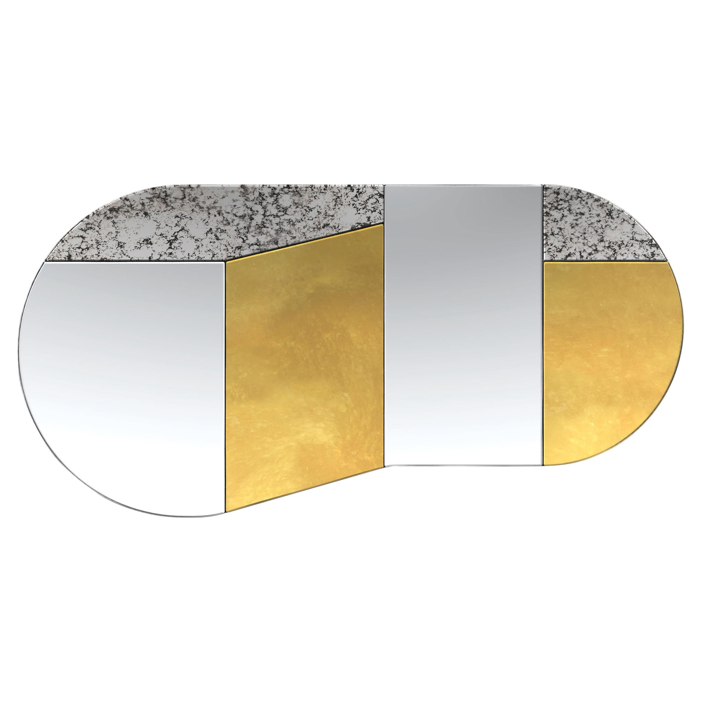 Gold and Speckled WG.C1.C Hand-Crafted Wall Mirror