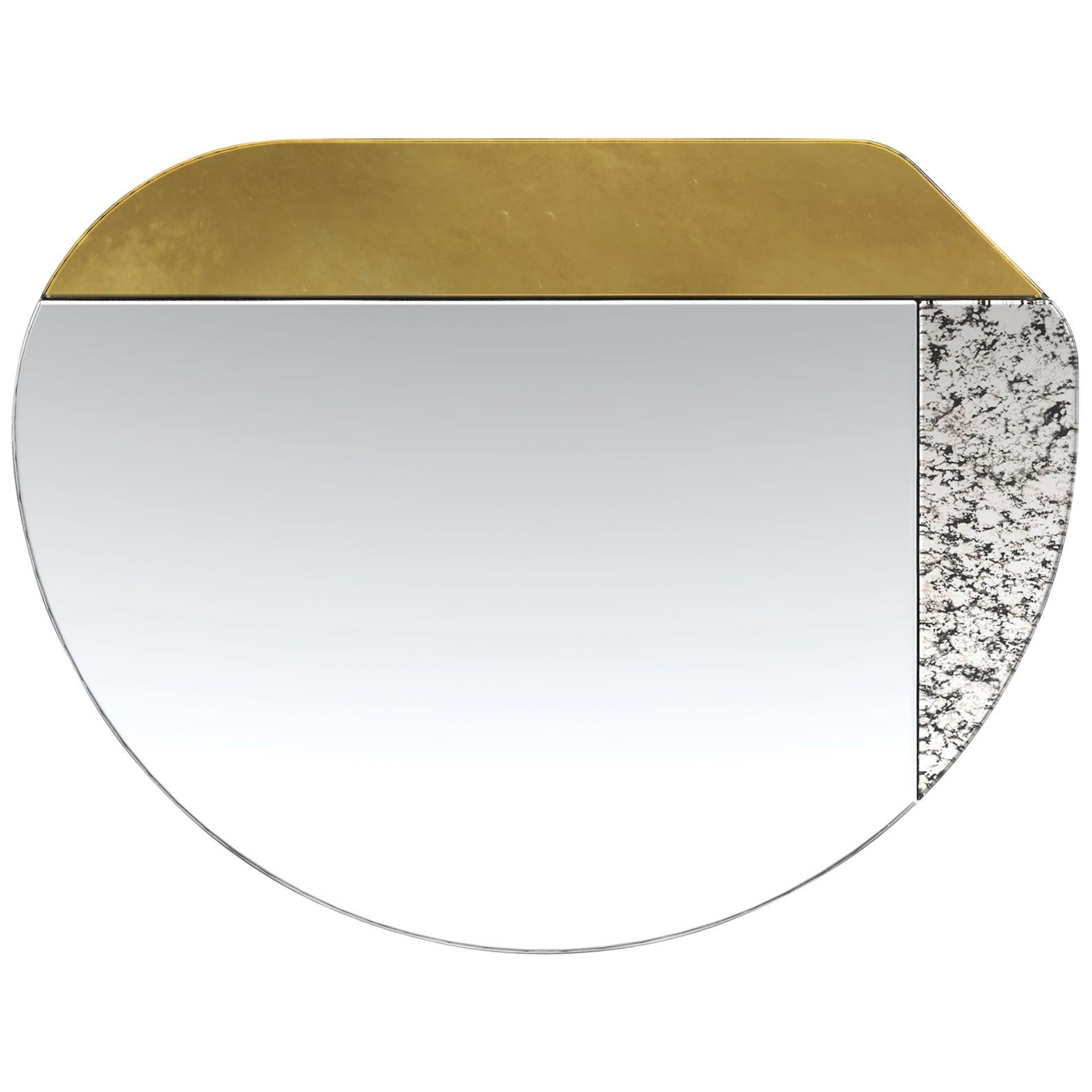 Gold and Speckled WG.C1.E Hand-Crafted Wall Mirror
