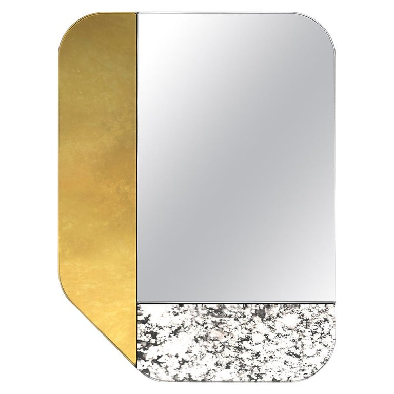 Gold and Speckled WG.C1.F Hand-Crafted Wall Mirror For Sale