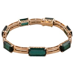 Gold and Tourmalines French Retro Bracelet