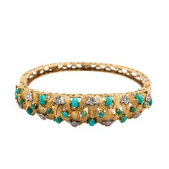Gold and Turquoise Cuff Bracelet