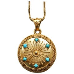 Gold and Turquoise Locket on a Gold Chain