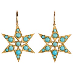 Gold and Turquoise Star Earrings, Sleeping Beauty