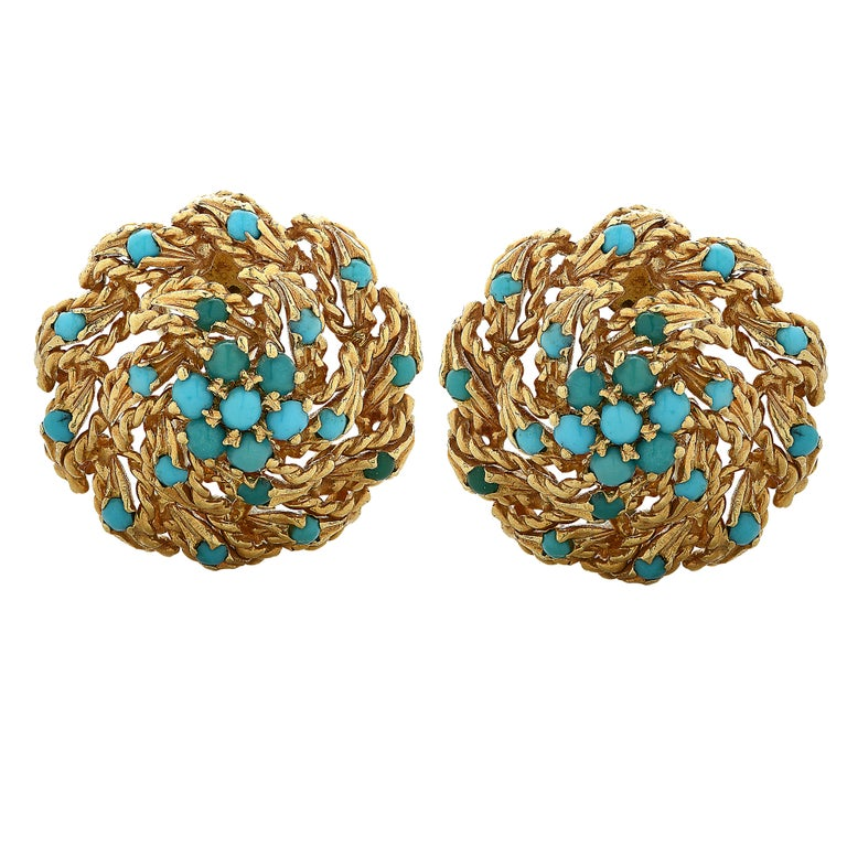 Modern Gold and Turquoise Stud Earrings For Sale