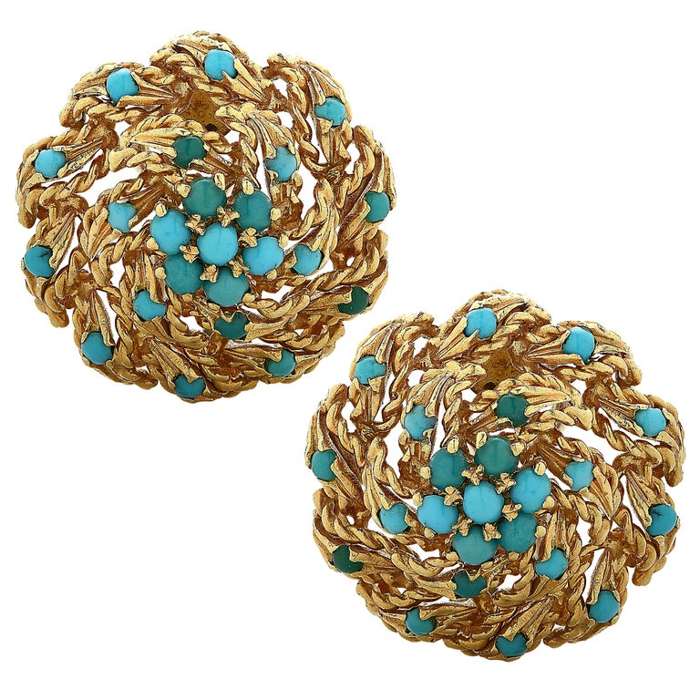 Gold and Turquoise Stud Earrings For Sale
