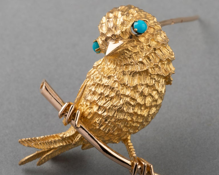 Gold and Turquoises French Vintage Bird Brooch For Sale 3
