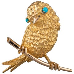 Gold and Turquoises French Vintage Bird Brooch
