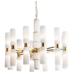 Gold and White Glass Chandelier #1