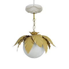 Gold and White Leaf Ceiling Light, 1970s