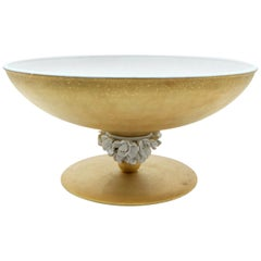Gold and White Porcelain Footed Centerpiece with Flowers by Giulia Mangani