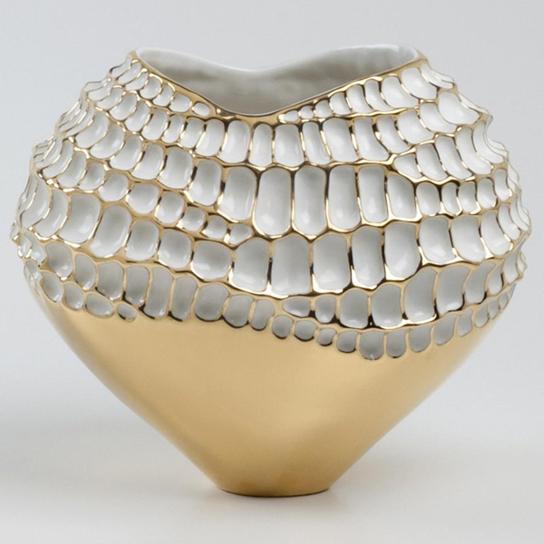 Modern Gold and White Sporos Vase by Fos Ceramiche For Sale