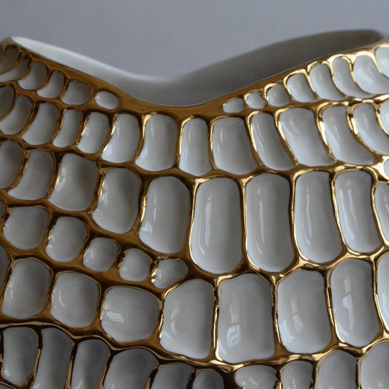 Italian Gold and White Sporos Vase by Fos Ceramiche For Sale