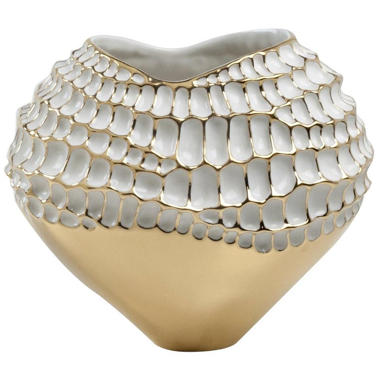 Gold and White Sporos Vase by Fos Ceramiche For Sale