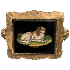 Gold Antique Dog Micro Mosaic Bangle