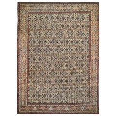 Gold Antique Persian Tabriz Fish Design Pure Wool Hand Knotted Oriental Rug