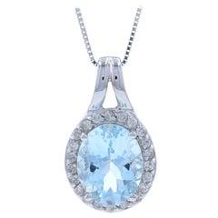 Gold Aquamarine and Diamond Halo Pendant Necklace, 14 Karat Oval Cut 2.48 Carat
