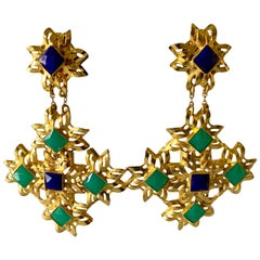 Gold Architectural Lapis and Chrysoprase Statement Earrings for Bill Blass