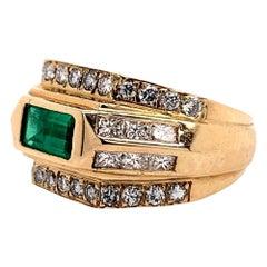 Gold Art Deco 2 Carat Ring Natural Green Emerald and Diamond Cocktail circa 1960
