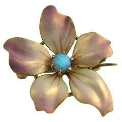 Gold Art Nouveau Enamel Pansy and Opal Brooch Pin