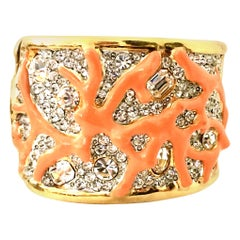 Gold Austrian Crystal & Enamal Coral Branch Cuff Bracelet By, Kenneth Jay Lane