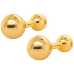 Gold Ball Cufflinks, Men's Cufflinks 14 Karat Yellow Gold Ball High Polish
