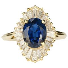 Gold Ballerina Ring with Royal Blue Sapphire