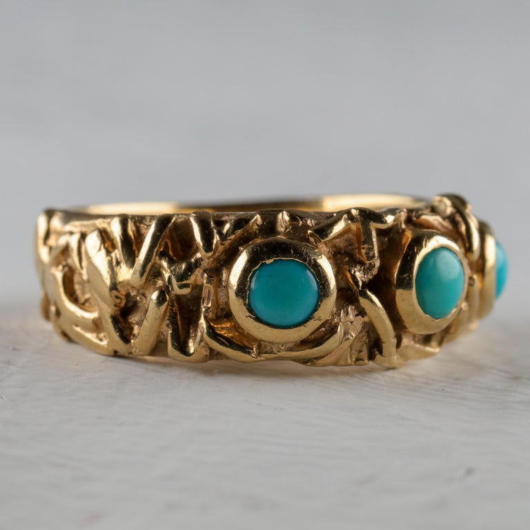 Artisan Gold Band with Persian Turquoise For Sale