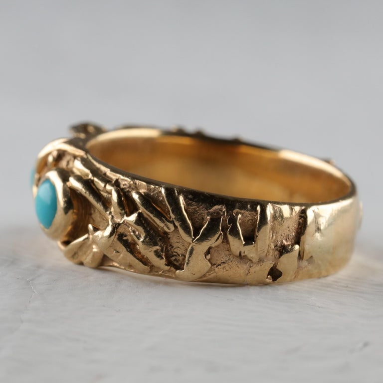Women's or Men's Gold Band with Persian Turquoise For Sale