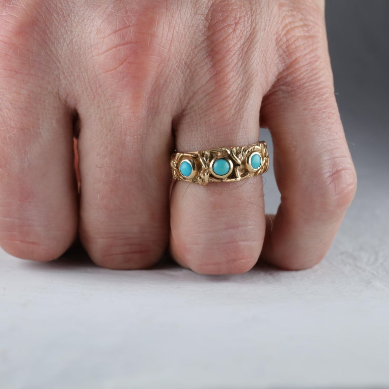 Gold Band with Persian Turquoise For Sale 2