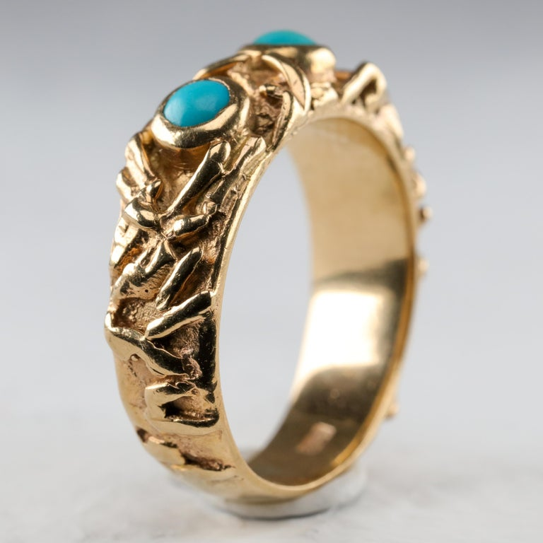 Gold Band with Persian Turquoise For Sale 3