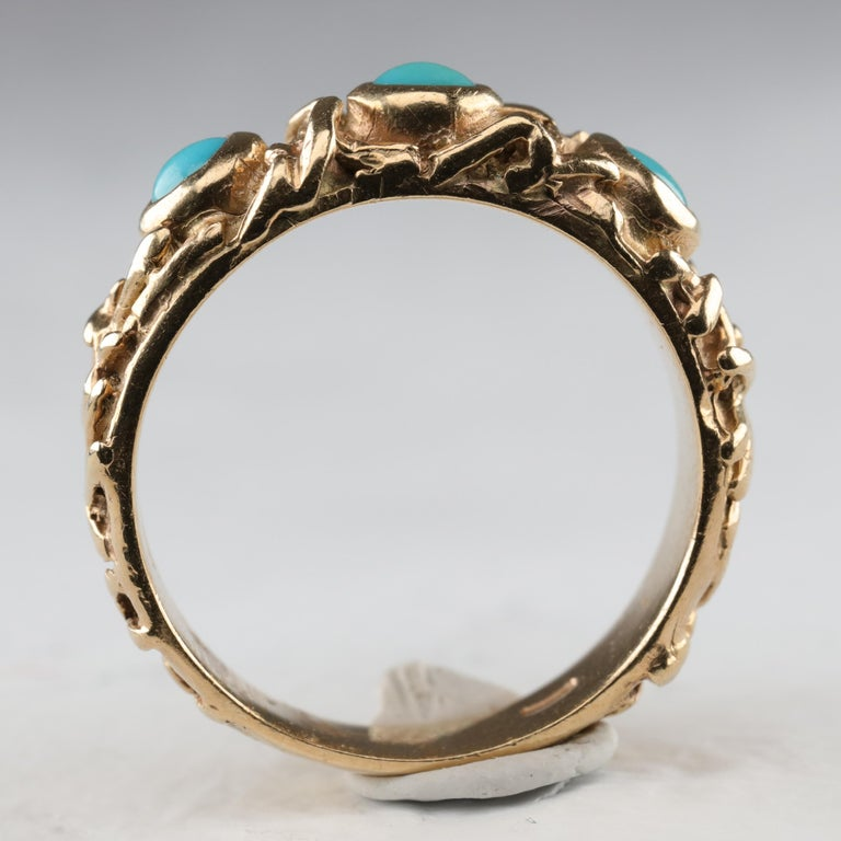 Gold Band with Persian Turquoise For Sale 4
