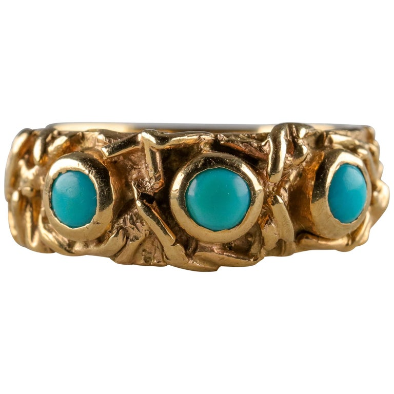 Gold Band with Persian Turquoise For Sale