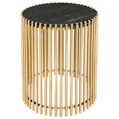Gold Bars Black Side Table