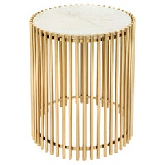 Gold Bars White Side Table
