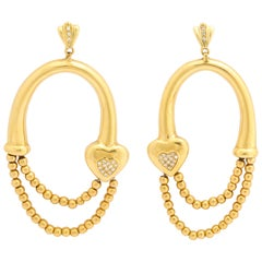 Gold Bead Hoop and Diamond Heart Earrings
