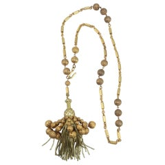 Gold Beaded Chain & Tassel Convertible Necklace Belt, 1960's
