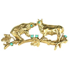 Gold Bear and Bull Brooch