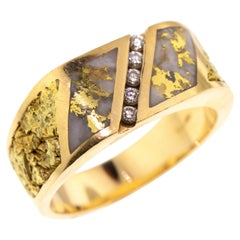 Gold Bearing Quartz, Gold Nugget, and Diamond 14 Karat Gold Men's Ring