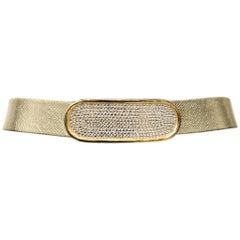 Gold Belt With Rhinestone Oval Clasp