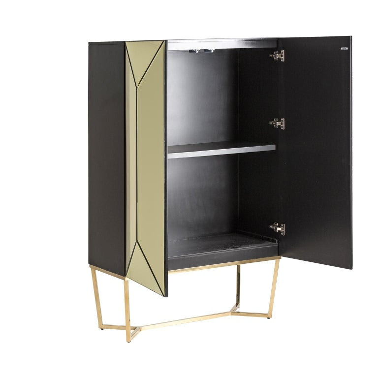 Art Deco Gold Bevelled Mirror and Gilded Metal Feet Bar Cabinet For Sale