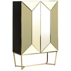Gold Bevelled Mirror and Gilded Metal Feet Bar Cabinet
