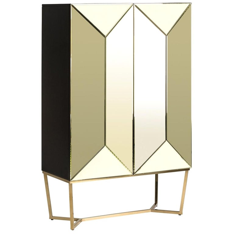 Gold Bevelled Mirror and Gilded Metal Feet Bar Cabinet For Sale